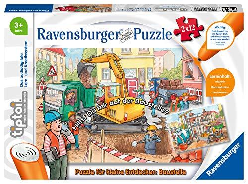Ravensburger tiptoi 00049 - Puzzle für kleine Entdecker: Baustelle / 2x12 Teile Puzzle von Ravensburger...
