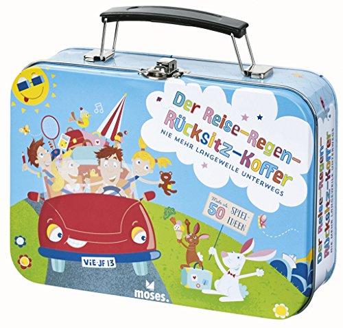 Moses 90237 Der Reise-Regen-Rücksitz-Koffer | Mehr als 50 Reisespiele für Kinder | Im Metallkoffer