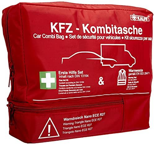 Kalff KFZ Kombitasche TRIO Compact, Verbandstasche Auto + Warnweste + Warndreieck NANO mit Erste Hilfe...