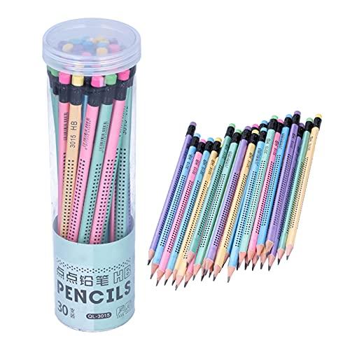 Jenngaoo 30 Stück HB Bleistifte, rutschfest Mehrfarbig mit Radiergummi Kinder Schüler Schreiben...
