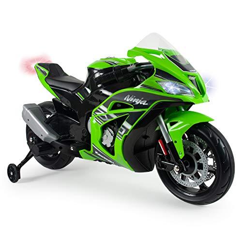 INJUSA - Kindermotorrad Ninja Kawasaki ZX10 12V mit MP3 und Stabilisierungsrädern, Empfohlen für Kinder...