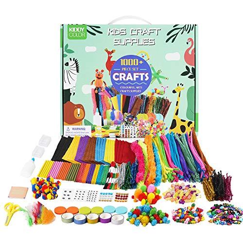 KIDDYCOLOR Kunst- und Bastelbedarf für Kinder, über 1000 Stück Bastelbedarf mit Pfeifenreinigern,...