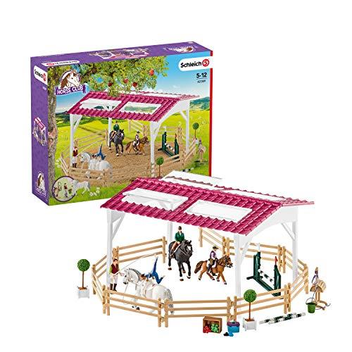 Schleich 42389 Horse Club Spielset - Reitschule mit Reiterinnen und Pferden, Spielzeug ab 5 Jahren