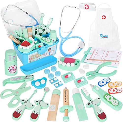 Vanplay Arztkoffer Holz Doktor Spielzeug mit Echt Stethoskop für Kinder Blau Rollenspiel Geschenk ab 3 4...