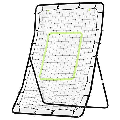 HOMCOM Kickback Rebounder Tor Rückprallwand Netz, Stahl+PE, 75x126cm, Schwarz