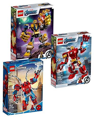 LEGO Marvel 3er-Set Mechs 76140 Iron Man Mech + 76141 Thanos Mech + 76146 Spider-Man Mech