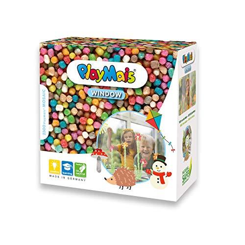 PlayMais WINDOW Herbst/Winter Fensterbilder-Set für Kinder ab 3 Jahren I Motorik-Spielzeug mit mehr als...