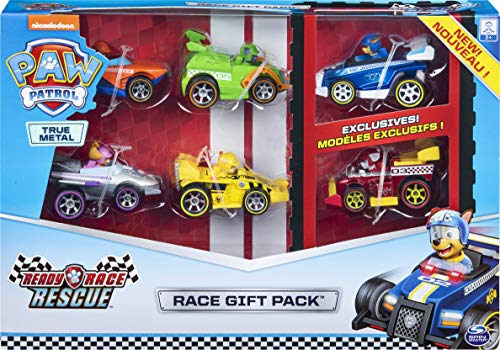 PAW Patrol 6054522 - True Metal Ready Race Rescue Gift Pack of 6 Race Car Collectible Die-Cast Vehicles,...
