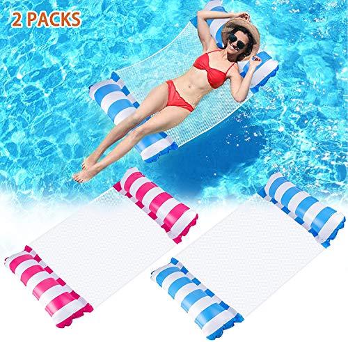 Wasserhängematte Aufblasbares Schwimmbett 2 PCs, Poolhängematten 4 in 1 Luftmatratze Pool Liegen Sessel...