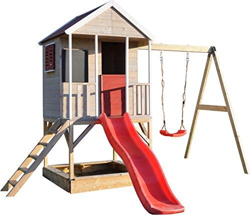 Wendi Toys Spielhaus & Plattform & Rutsche | Rot Kinderspielhaus aus Holz auf 90 cm Plattform mit...