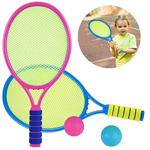 Aniwon Tennisschläger Kinder Spielzeug ab 3-6 Jahre Schläger Set mit 2 Tennisbälle, 2 in 1 Badminton...