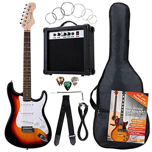 Rocktile Banger's Pack Komplettset E-Gitarre Sunburst (Verstärker, Tremolo, Tasche, Kabel, Gurt, Plecs,...