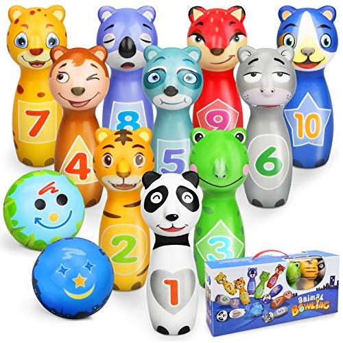 Sanlebi Kegelspiel für Kinder Ball Set mit 10 Kegel und 2 Bälle Bowling Set Mini Drin und Draußen...