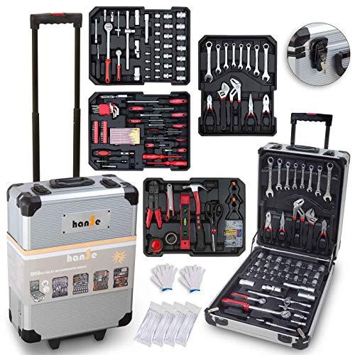 hanSe® Werkzeugkoffer Maxi 1050-teilig Werkzeug Trolley gefüllt Werkzeugkasten Werkzeugkiste Heimwerker...