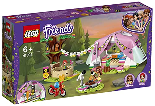 LEGO 41392 Friends Camping in Heartlake City Set mit Mini Puppen Olivia & Mia und Zelt, Spielzeug ab 6...