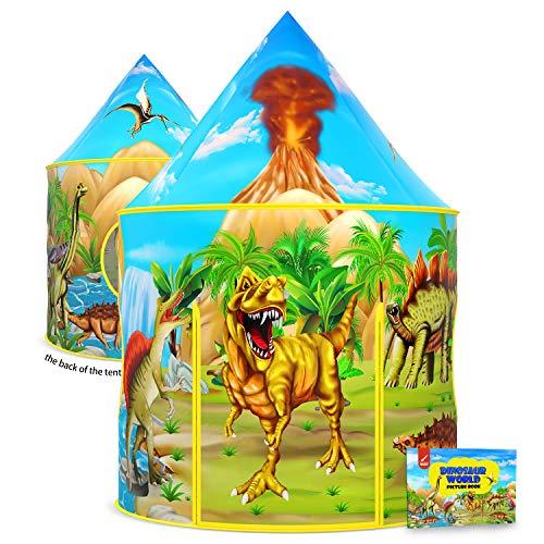 Dinosaurier-Kinderzelt mit Dinosaurier-Malbuch, aufklappbares Spielzelt für Kinder,...