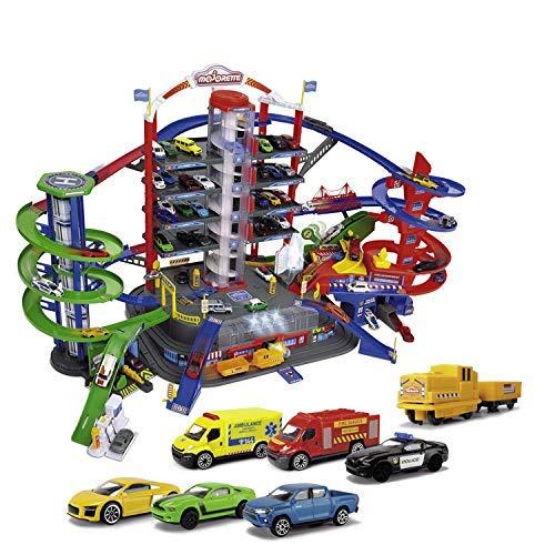 Majorette Super City Garage, motorisierte Bahn für Modellautos mit Parkplätzen und Eisenbahn, Parkhaus...