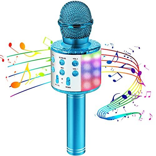 Mikrofon für Kinder, Kindermikrofon zum Singen mit LED-Lichtern, drahtloses Bluetooth karaoke Mikrofon...