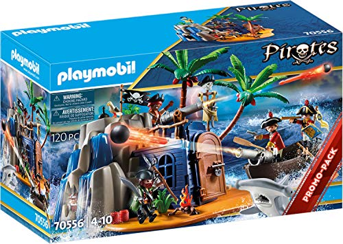 PLAYMOBIL Pirates 70556 Pirateninsel mit Schatzversteck und schwimmfähigem Boot, Für Kinder von 4 - 10...