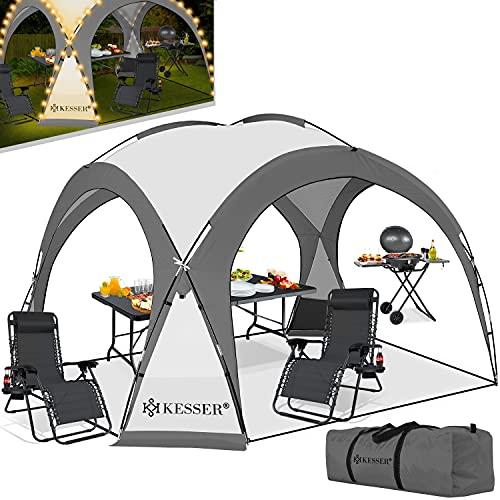 KESSER® LED Event Pavillon inkl. Solarmodul Designer Dome Gartenzelt 3,6 x 3,6m Camping Partyzelt...