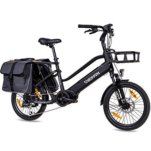 CHRISSON 20 Zoll E-Bike Lastenfahrrad ECARGO schwarz - Elektro Cargo Bike mit Bafang MaxDrive Mittelmotor...