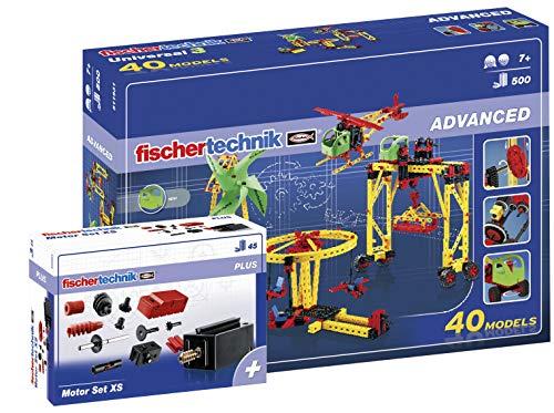 fischertechnik - 516187 ADVANCED Universal 3 + Motor Set XS, Konstruktionsbaukasten