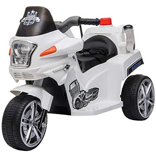 HOMCOM Elektrofahrzeug, Kinderfahrzeug, Kindermotorrad, Elektro-Motorrad mit Schutzbügeln, Dreirad, 3-6...