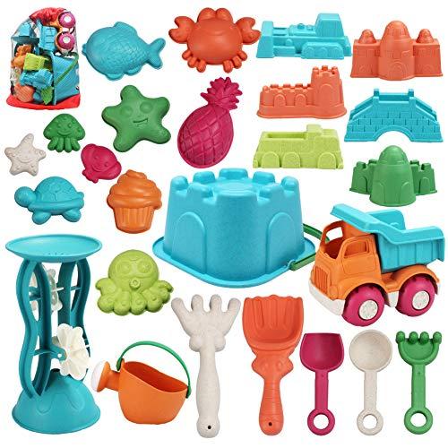 JOYIN 25-teiliges Strandsandspielzeug-Set mit Netzbeutel, inklusive Eimer, Auto, Schaufeln, Rechen,...
