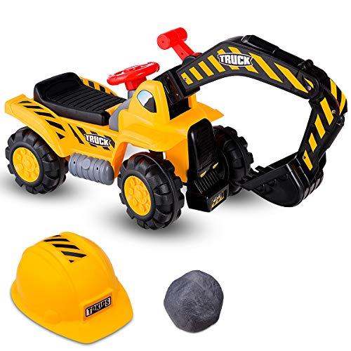 DREAMADE Sitzbagger für Kinder, Kinderbagger mit Helm, elektrischer Sandbagger (ohne Batterie),...