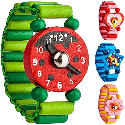 alles-meine.de GmbH 4 Stück _ Armbanduhren / Kinderuhren - Motiv-Mix - aus Holz - bewegliche Zeiger ! -...