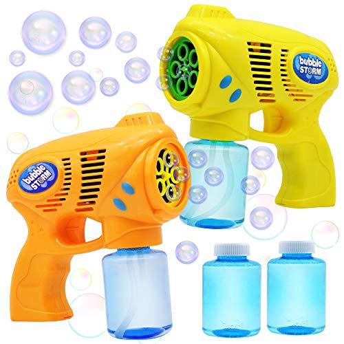JOYIN 2 Seifenblasen Pistolen für Kinder mit 2 Seifenblasenflüssigkeit(147ml), Seifenblasenpistole für...