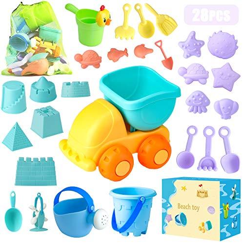 Sandspielzeug, Sandkasten Spielzeug Set mit Sand Förmchen, Soft Plastic Truck, Gießkanne, Eimer,...