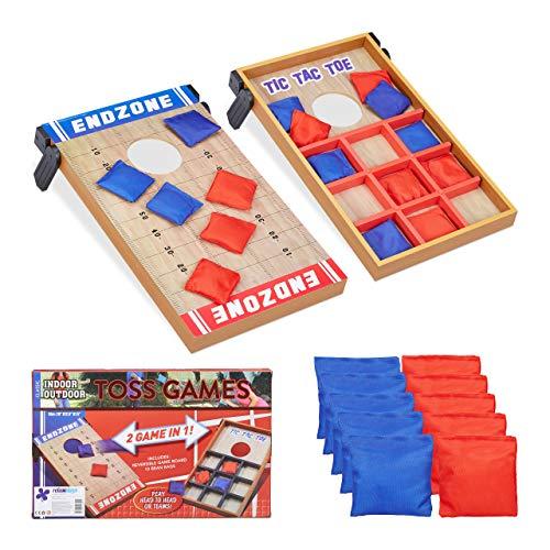 Relaxdays 10022795 Wurfspiel 2 in 1, Cornhole & Tic Tac Toe, 10 Bean Bags, Geschicklichkeitsspiel, Indoor...
