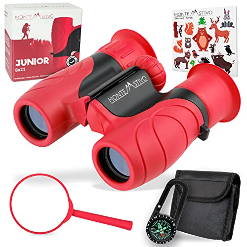 Monte Stivo® Junior   Vergleichssieger Fernglas für Kinder 8x21 mit Lupe & Kompass   Geschenk-Set...