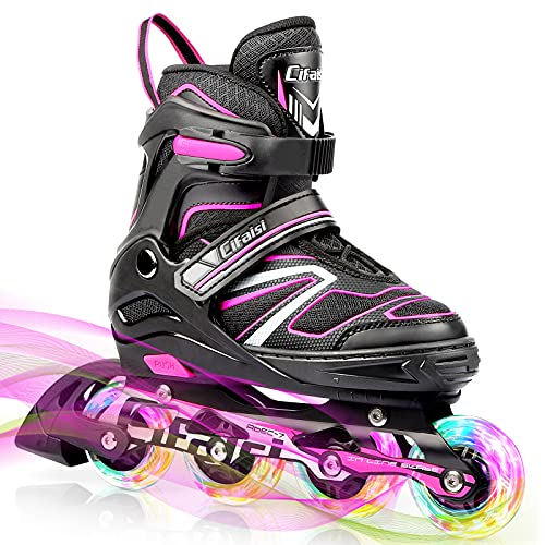 Inline-Skates Kinder/Erwachsen, Verstellbare Inliner mit 8 Blinkende LED-Rädern Anfänger Rollschuhe...