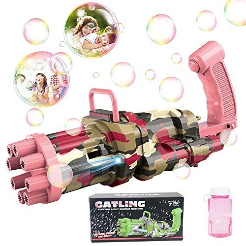 specool Seifenblasenmaschine, Automatische Seifenblasen Pistole mit 8-Loch und Licht Gatling Bubble...