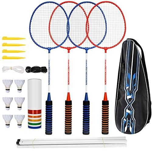 trounistro Badminton Set, 4 Spieler Badmintonschläger mit 6 Federbällen, Federballschläger mit Netz...