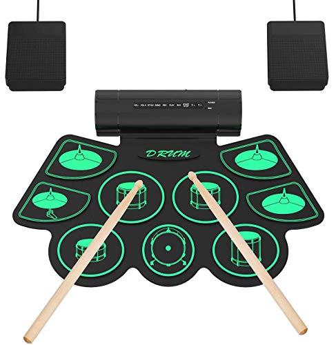 Elektronisches Schlagzeug Kit 9 Pads Tragbare Roll Up Midi Tabletop E-Drum Schlagzeug Set mit Eingebautem...
