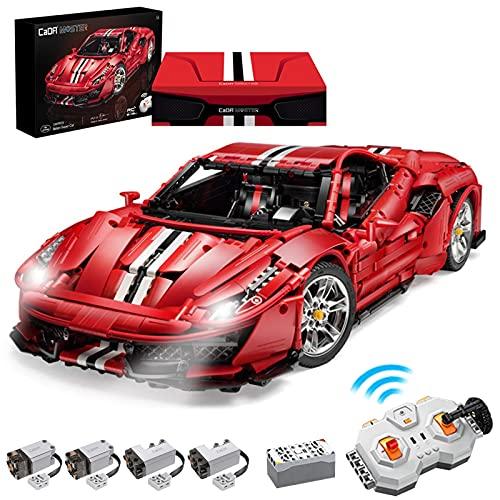 WJZJ Technic Bausteine CADA C61042w Auto Ferrari 488 Pista, 3187Teile 2.4G 1:8 Sportwagen, Technik...