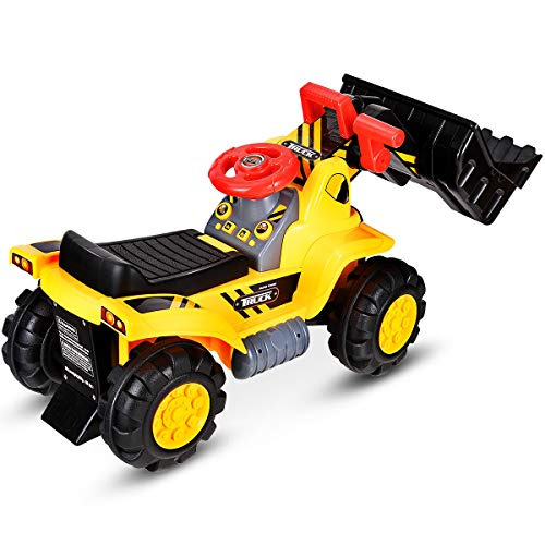 DREAMADE Kinder Sitzbagger, Bulldozer zum Sitzen, elektrischer Trettraktor mit Schaufel (ohne Batterie),...