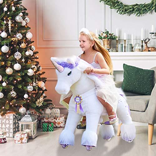 PonyCycle Offizielle Prämie K-Serie Reiten auf Einhorn Spielzeug Plüsch Lauftier Einhorn mit lila Horn...