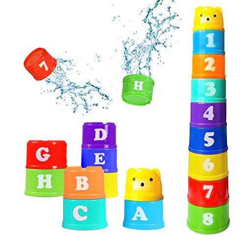 9 Stück Stapelbecher Baby,Stapel Tasse Spielzeug,Kinder Stapeln Tassen,Babyspielzeug stapeln Tassen,Baby...