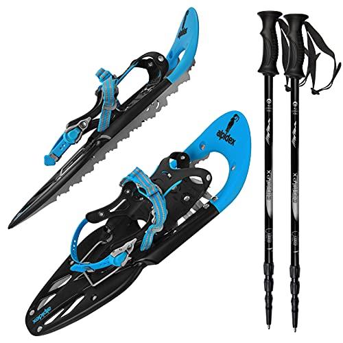 ALPIDEX Schneeschuhe 25 INCH Schuhgröße 38-45 bis 130 kg Steighilfe Tragetasche Optional Stöcke,...
