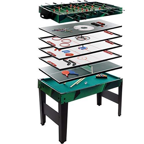Anaterra Multigame Spieletisch 10 in 1, Kickertisch Tischfußball, Billardtisch, Tischtennis, Schach,...