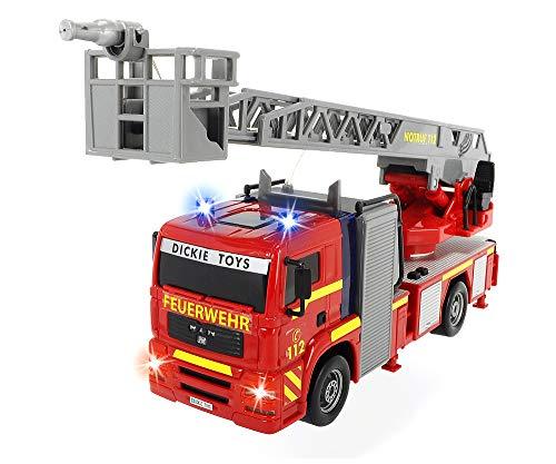 Dickie Toys City Fire Engine, Feuerwehrauto mit manueller Wasserspritze, Feuerwehr, Einsatzfahrzeug,...