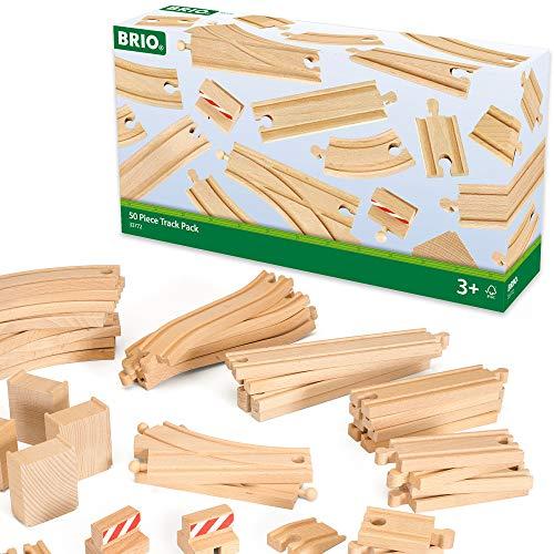 BRIO World 33772 Großes Schienensortiment 50 Teile – Schienen Set für die BRIO Eisenbahn –...