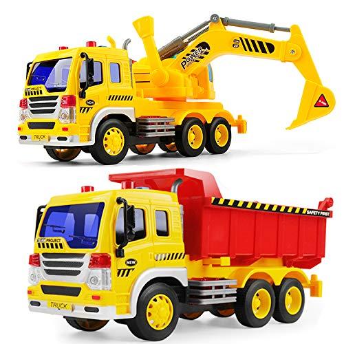GizmoVine Bagger Sandkasten, 2 Stück Bagger Spielzeug mit Lichtern und Geräuschen für Kinder Jungen...