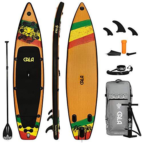 CALA Ikatere Stand Up Paddling Board Set, i-SUP aufblasbar, Robustes Surfboard mit Seegras-Anteil inkl....