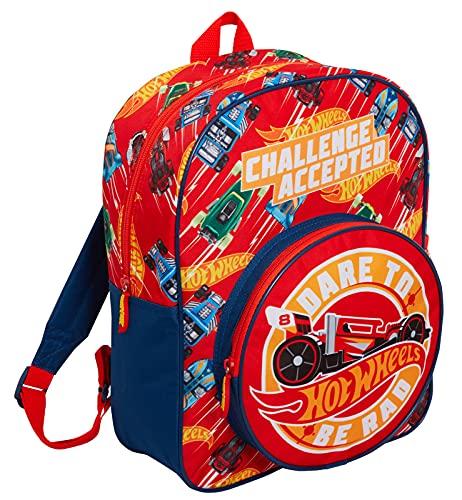 Hot Wheels Rucksack für Kinder, große Autos, Schule, Reisen, Sporttasche mit Getränkehalter