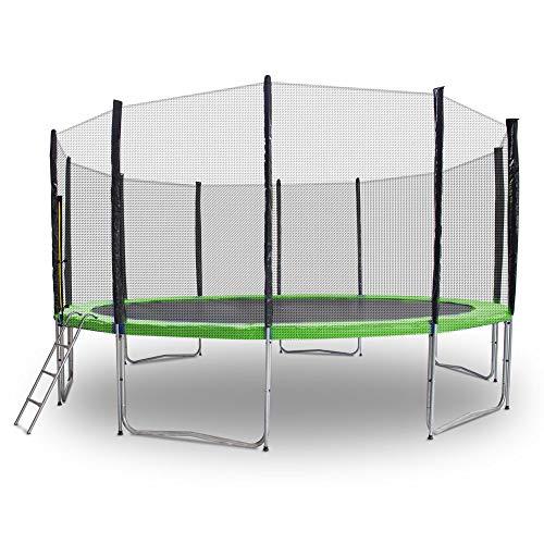 Gartentrampoline Trampoline Mit Leiter Randabdeckung Sicherheitsnetz und Randabeckung (Hellgrün, 460cm)